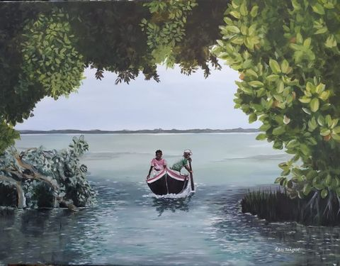 Art of two Sri Lankan people rowing a boat with trees around them