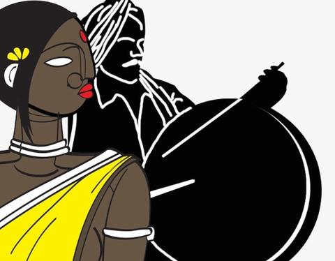 Image of a Dalit woman looking at a man playing the Parai ( Dalit drum)