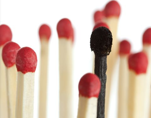 Image of matches, one burnt one non burnt. Implying the term gaslighting