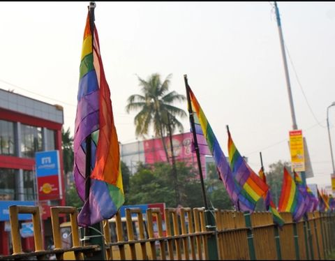 LGBTQIA + pride flags in Kerala, India