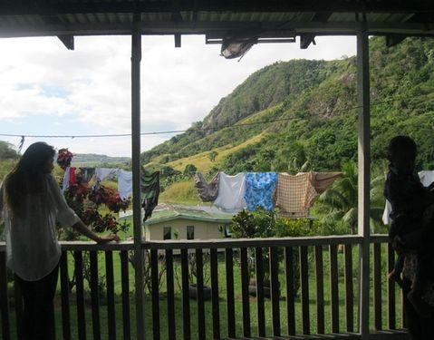 image, Fiji, clothes line, mountains