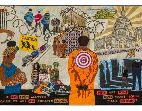 Image of an incarcerated person with a target on their back, the police state, and black and brown people