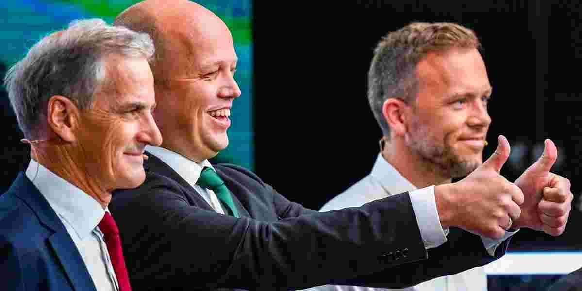Partilederdebatt på TV2. F.v. JonasGahr Støre (Ap), Trygve Slagsvold Vedum (Sp) og Audun Lysbakken (SV).