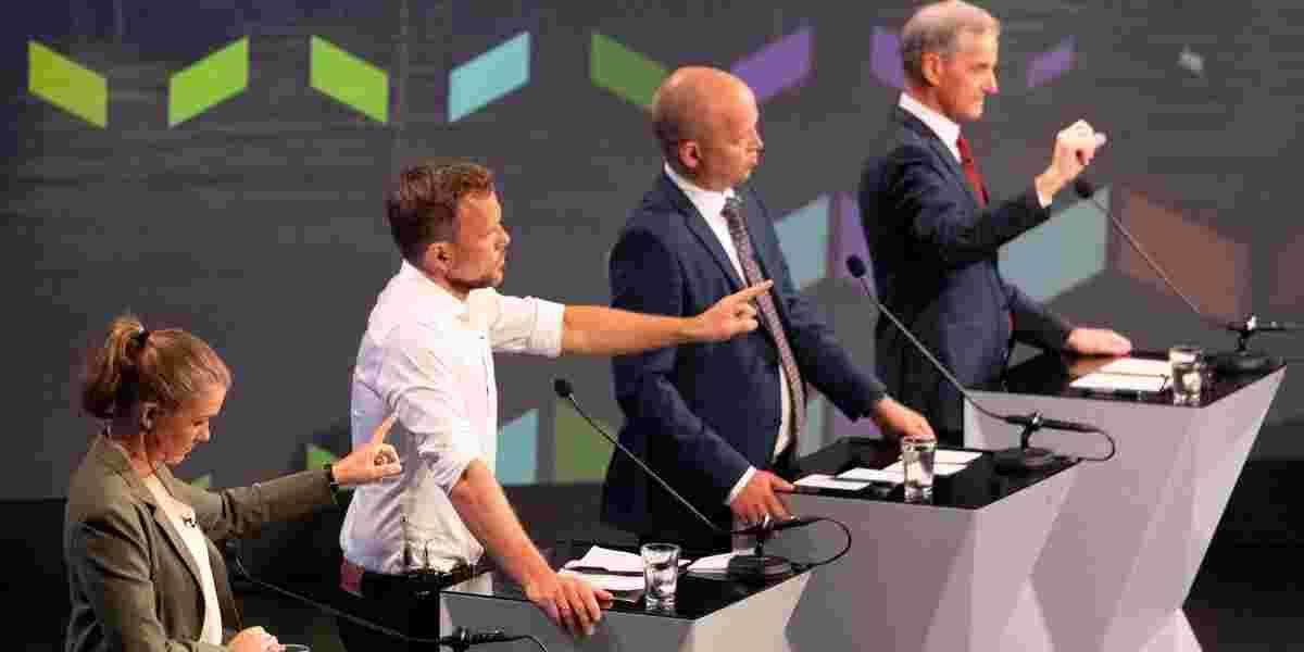 Une Bastholm (MDG), Audun Lysbakken (SV), Trygve Slagsvold Vedum (SP) Jonas Gahr Støre (AP).