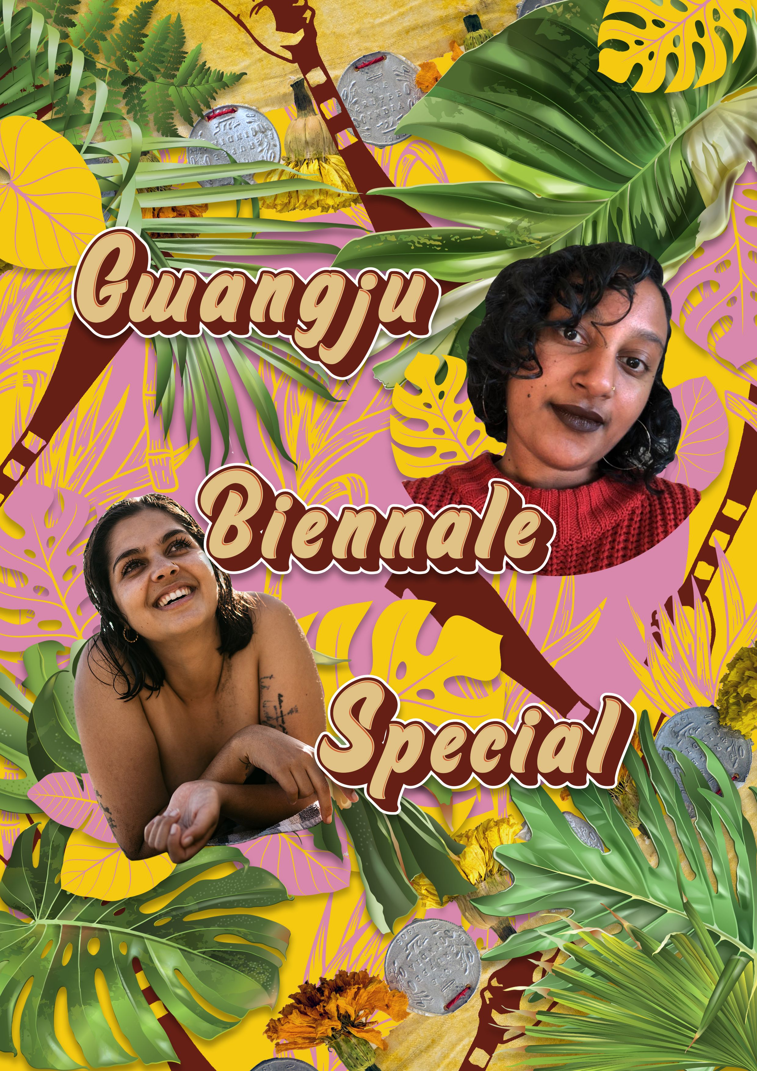 """Image collage. Images of Esha (right) and Quishile (left) smiling. In the middle is a text that reads: """"Gwangju Biennale Special"""". Background is colourful with graphics of leaves and machete knives, and images of dried flowers and tropical leaves."""