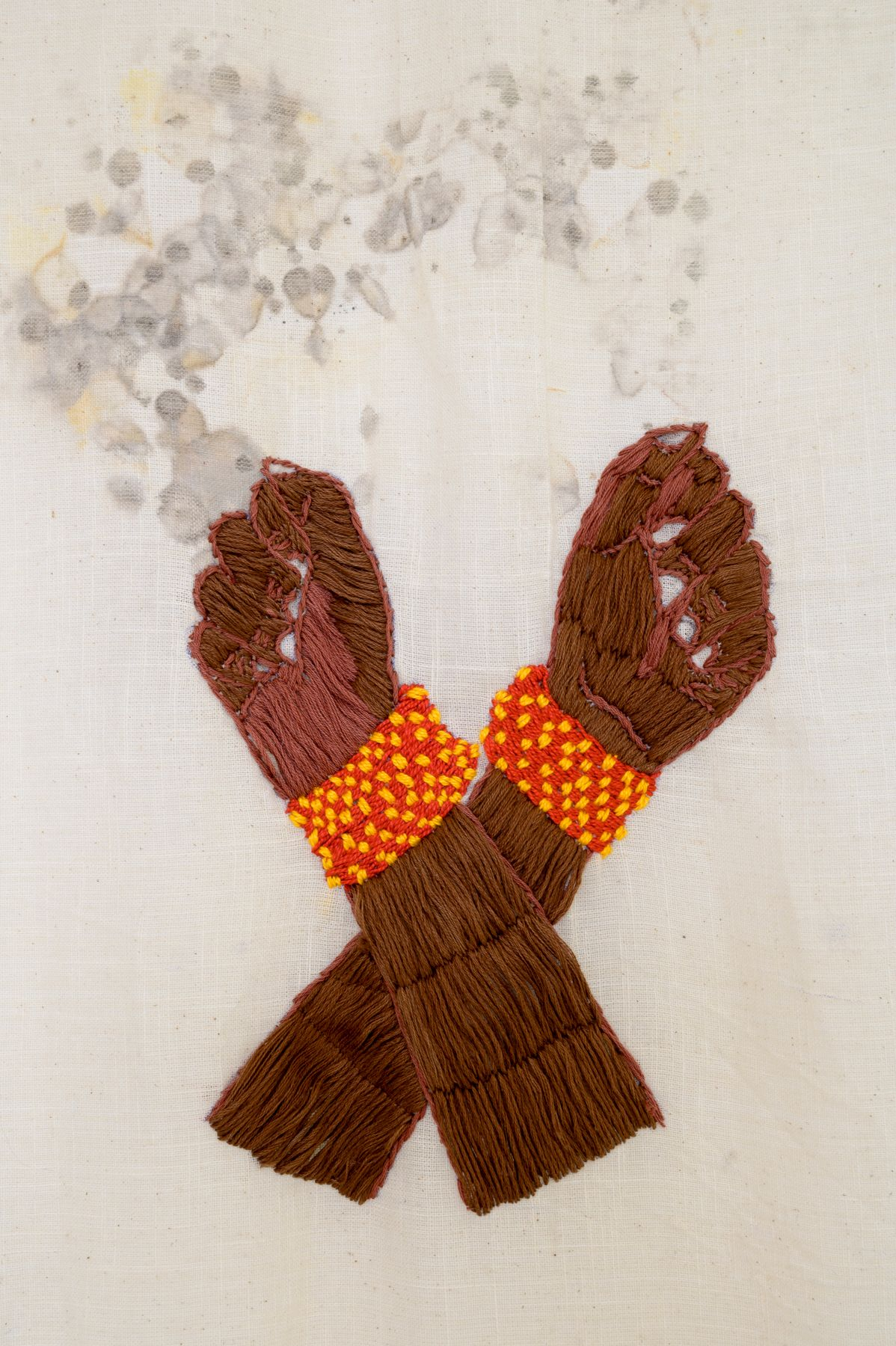 Quishile Charan, Oral History: Glass Bangles Broken in Protest at Police Barrier, Nausori 1920. 2019. Close up details of embroidered hands.