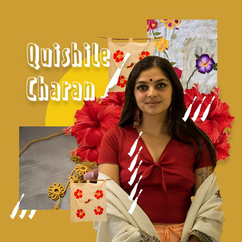 Image collage of Quishile. Mid length photo of Quishile standing and smiling towards the camera. Surrounding her image are Quishile's textile works, vectors of machete's, red hibiscuses and an image on the left side of her amma's yellow tatting. There is a text in the upper left corner that reads Quishile Charan.