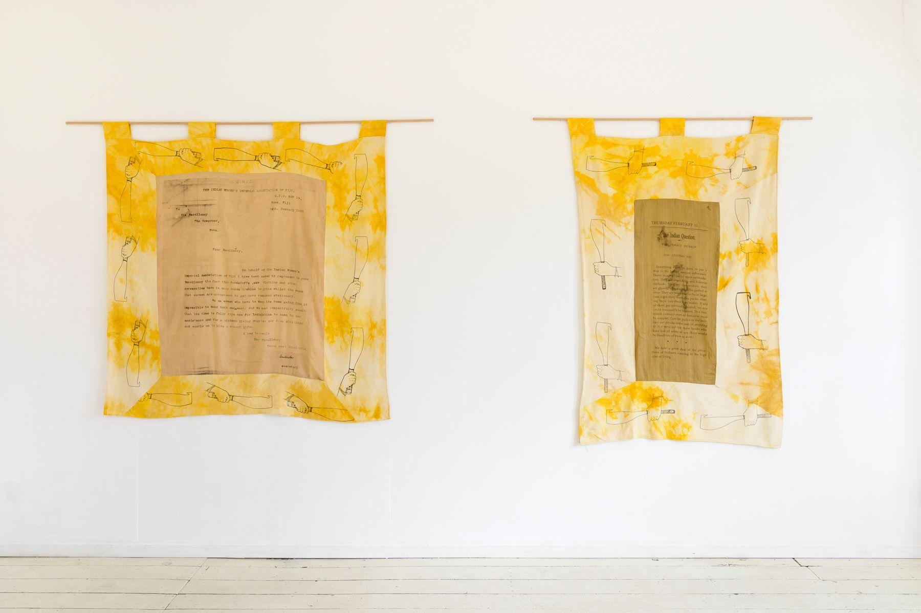 Quishile Charan, Sushila's Letter, 2019, archival document, cotton, textile ink, natural dye: haldi (turmeric) and kumkum seeds, 136 x 130 cm.