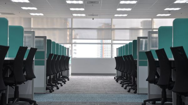 An empty open office plan