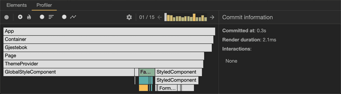 A flame graph view of the Profiler, showing a bunch of components and their relative rendering times