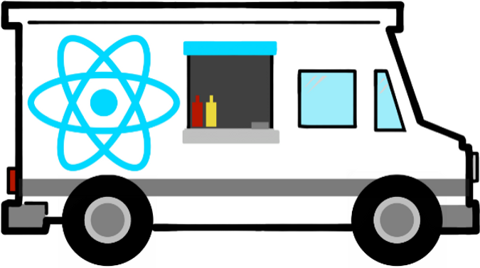 The React Foodtruck logo - a foodtruck with a React logo on it