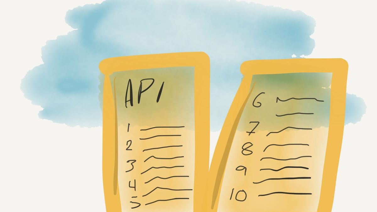 Illustration of two stone tablets, with the word API scribbled on top of the first one
