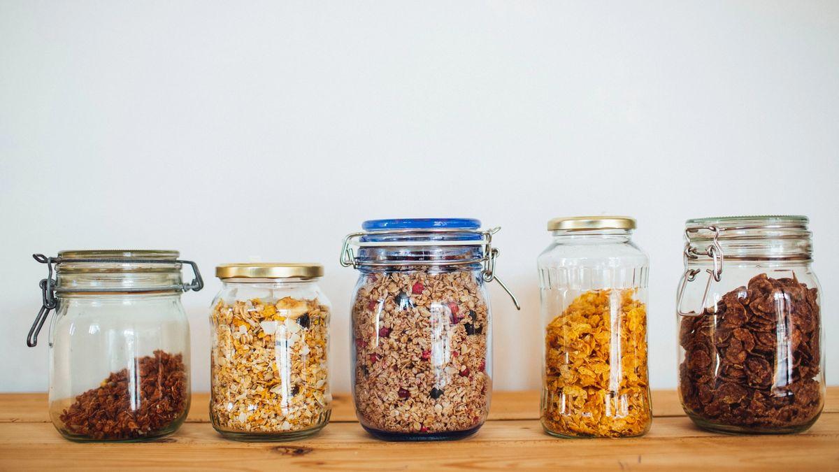 Five jars of cereal