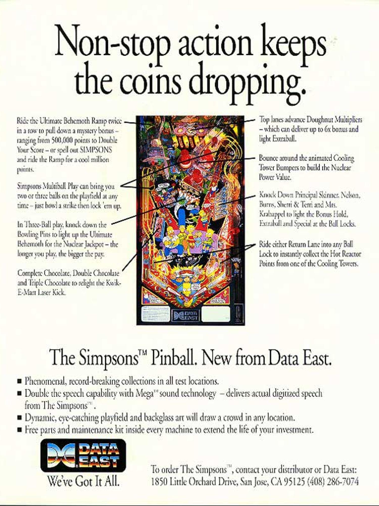 The Simpsons Pinball Flyer Rückseite