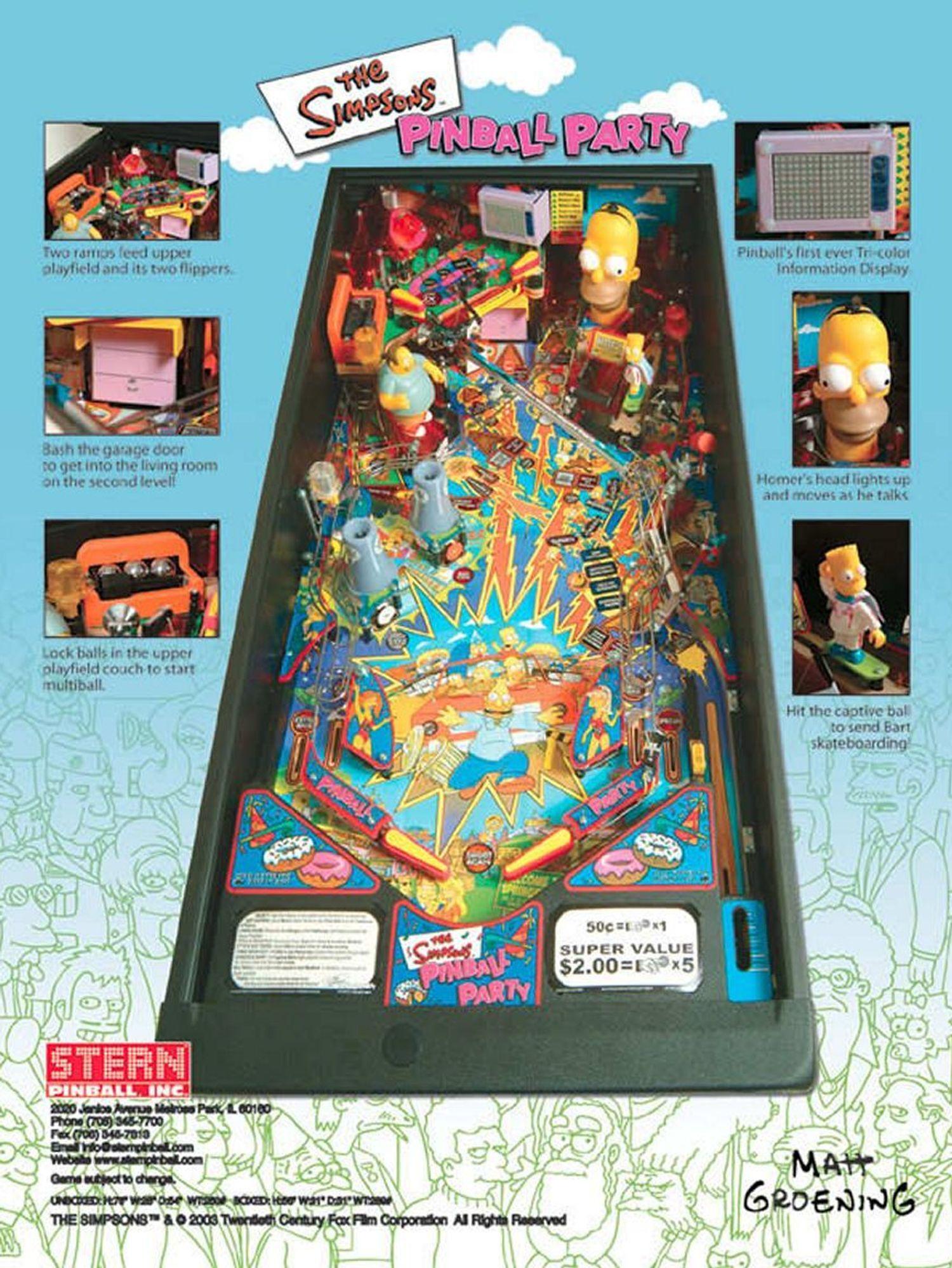 The Simpsons Pinball Party Flyer Rückseite
