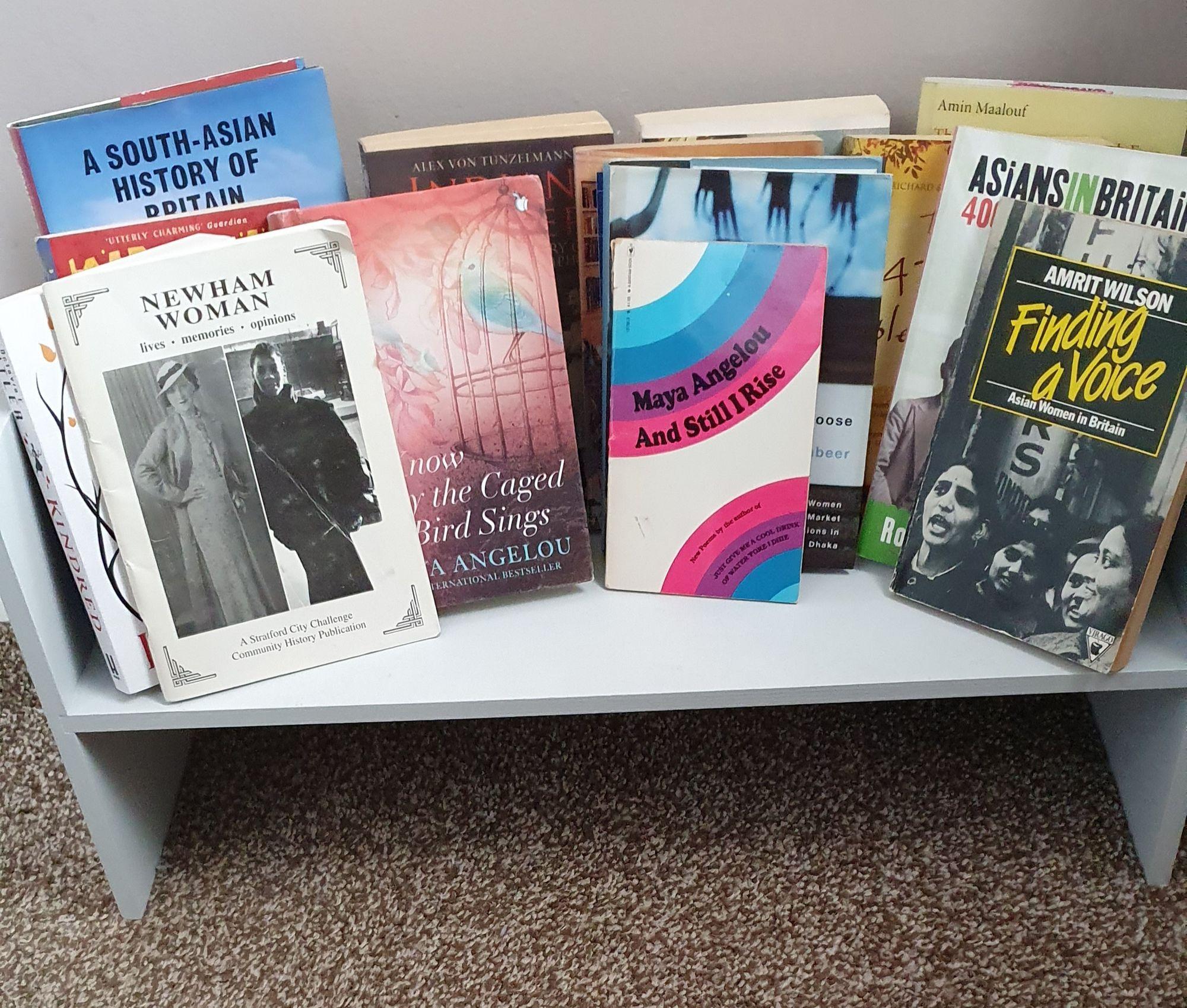 Books on a freestanding shelf