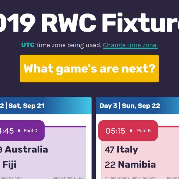 Screenshot of my 2019 Rugby World Cup fixtures website.