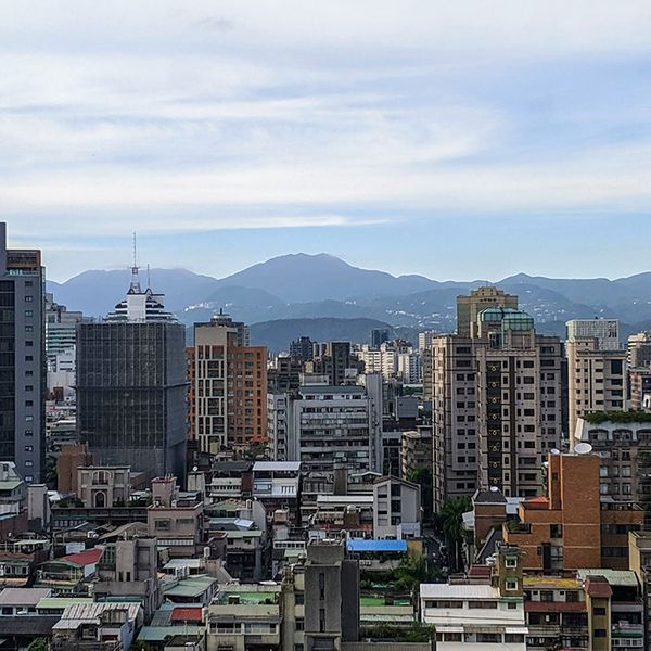 View overlooking Taipei city and Yangmin Mountain National Park in Taiwan.