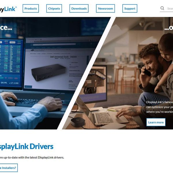 Screenshot of the redesigned DisplayLink homepage