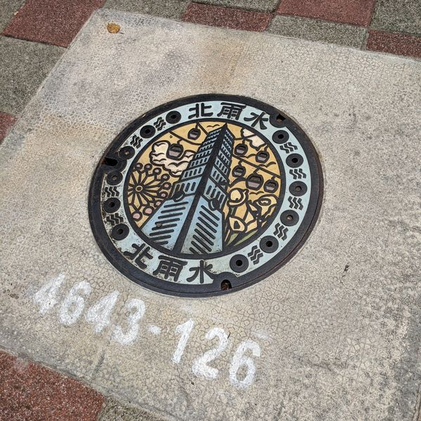 Manhole cover showing Taipei 101.