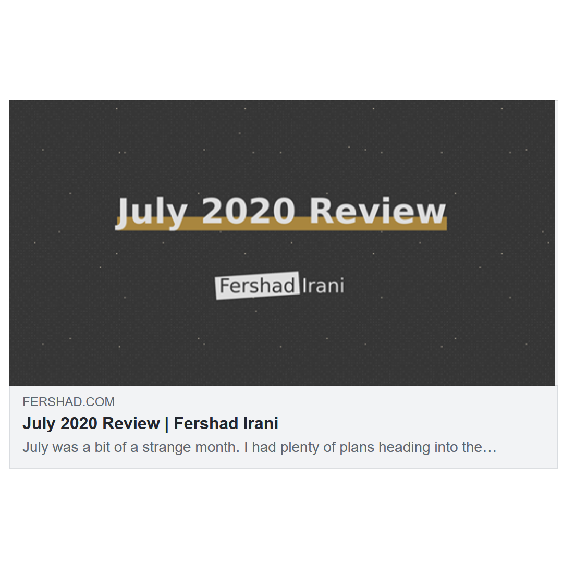 Screenshot of Facebook Sharing Debugger preview for July 2020 Review blog post with Open Graph tags.