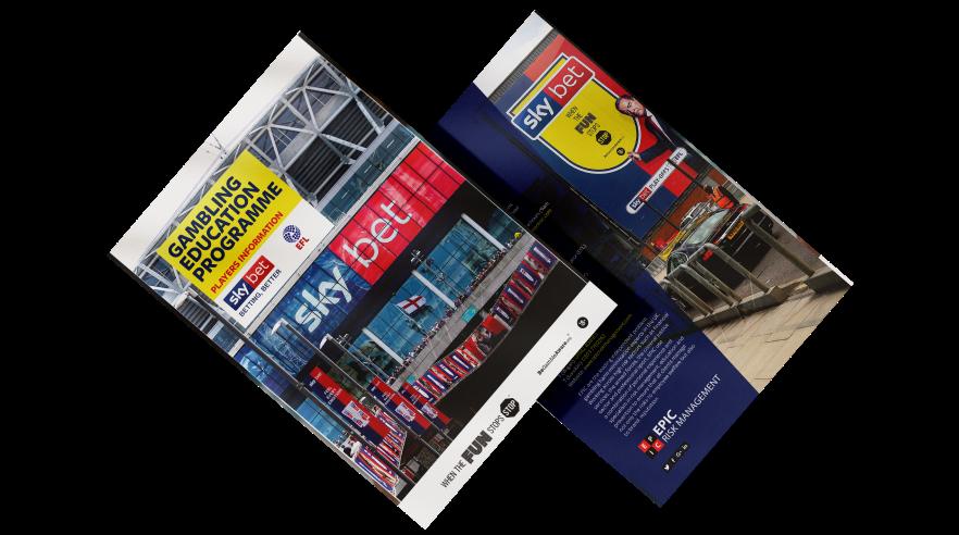 Leaflet design Sky Betting & Gaming & EPIC Risk Management