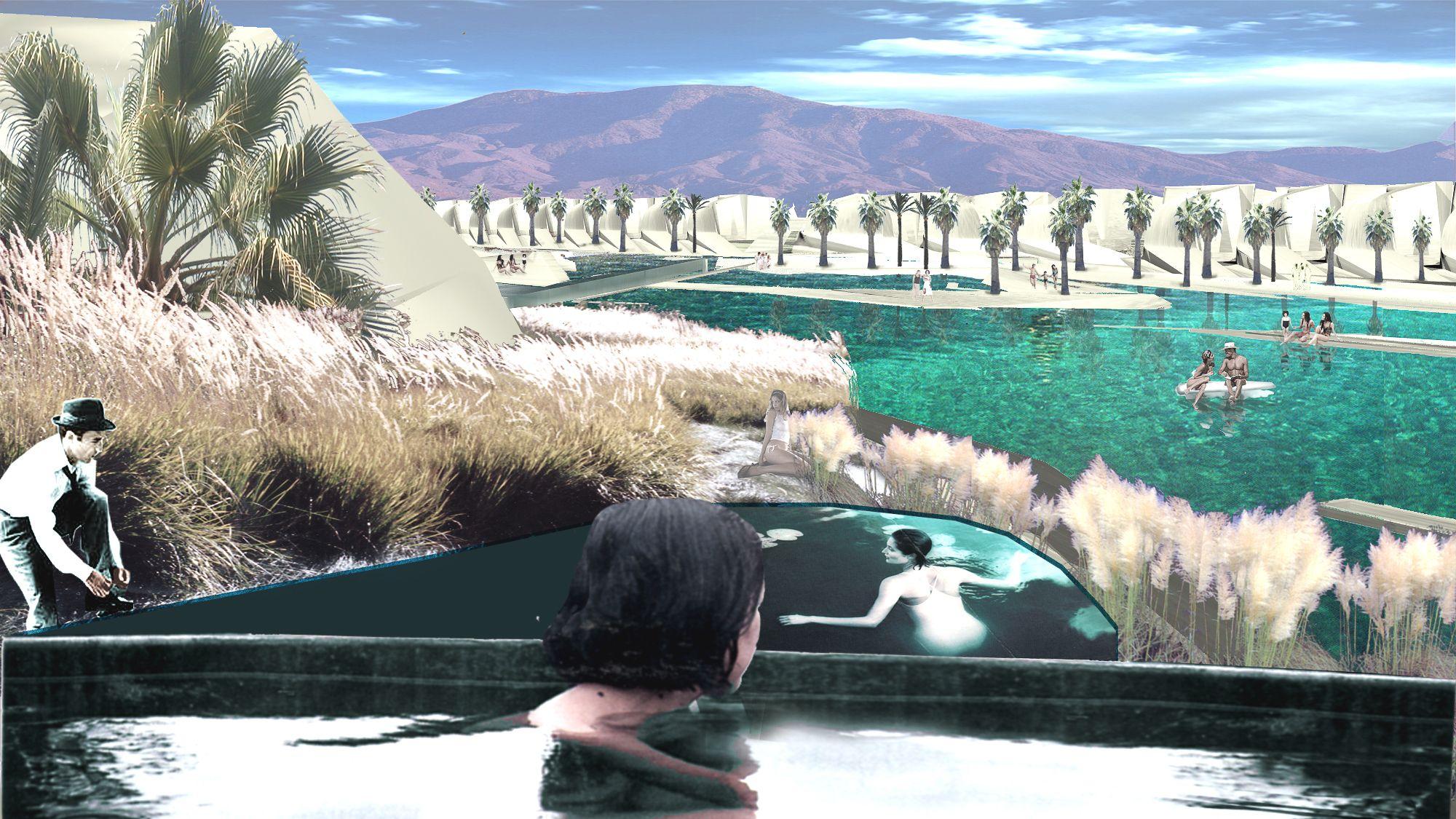 In einer künstlichen Landschaft und von grünen Golfplätzen umgeben, stellt das Projekt eine Rückführung zur Wüstenlandschaft dar und verbindet es wieder mit dem kosmologischen Kontext, in dem Windzirkulation und Naturereignisse aktiv genutzt werden.    Eine Reihe von Canyons windet sich durch die Landschaft und schafft Schatten und Privatsphäre für die Gäste auf dem Weg zu ihren Hotelsuiten. Die dünenartigen Canyons orientieren sich an der umgebenden Berglandschaft und den örtlichen Wind- und Klimabedingungen. Die Architektur verbindet sich mit der Landschaft und generiert ein topographisch einzigartiges Storyboard. Der Hotelkomplex verfügt über drei verschiedene Canyons, die unterschiedliche Atmosphären und Erfahrungen erzeugen.