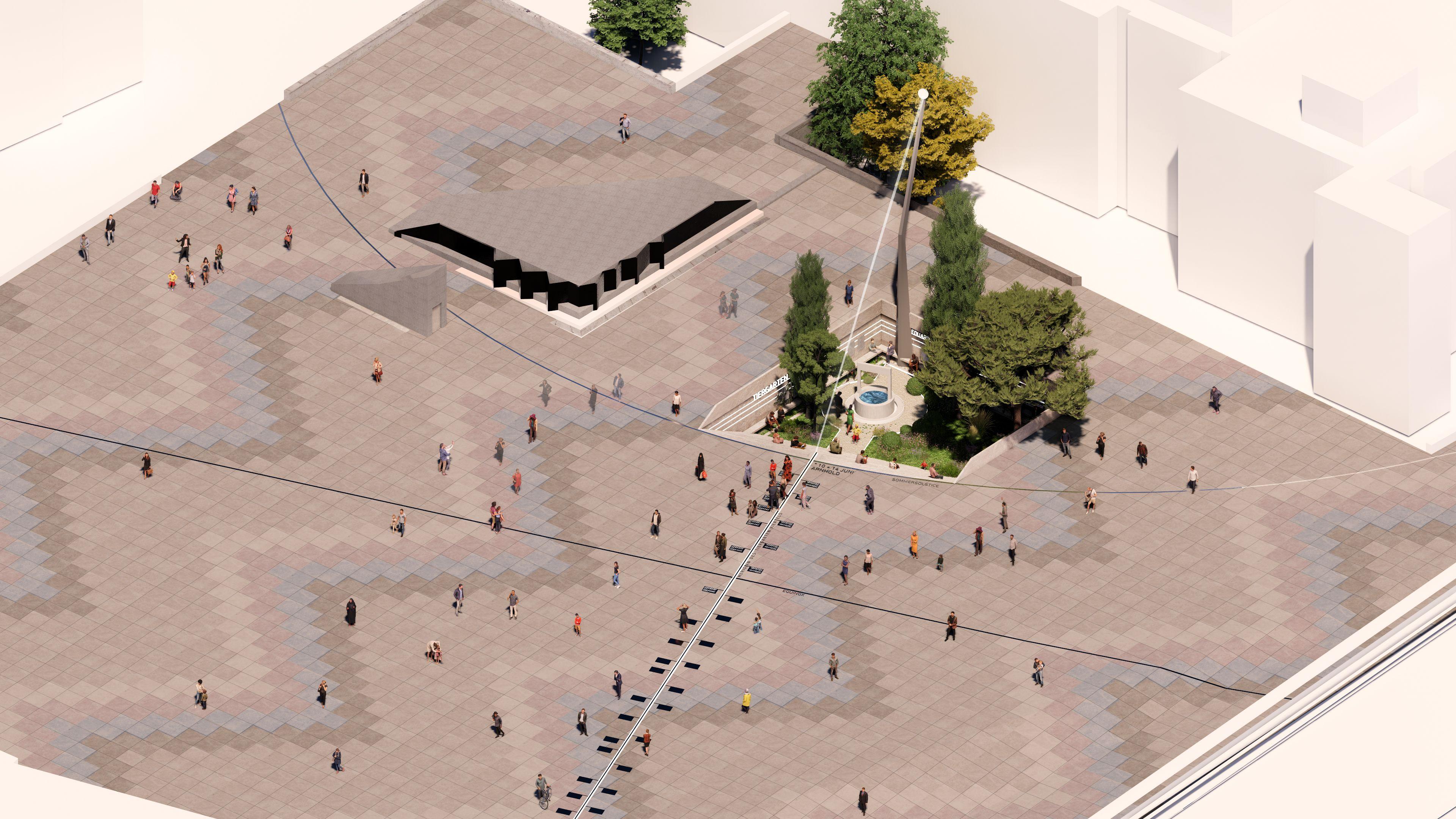 Proposed design by Lars Krückeberg with GRAFT: Fragments of Villa Massimo's Garden with Arnhold-Meridian – Johanna und Eduard Arnhold Square © 2021 Lars Krückeberg with GRAFT Architects