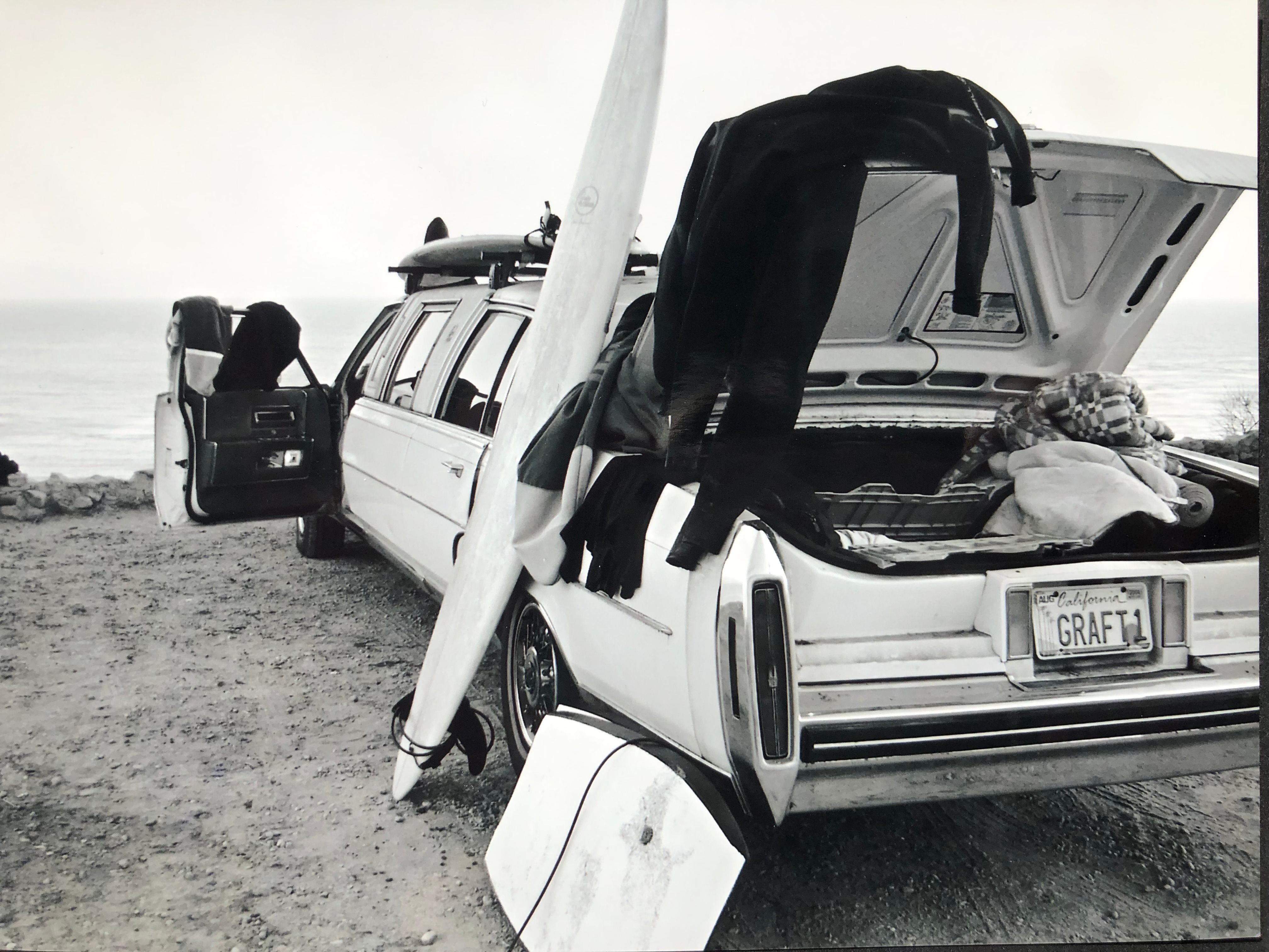 GRAFT car with surf equipment at a Californian beach in the late 1990s: mobility is closely linked to freedom.