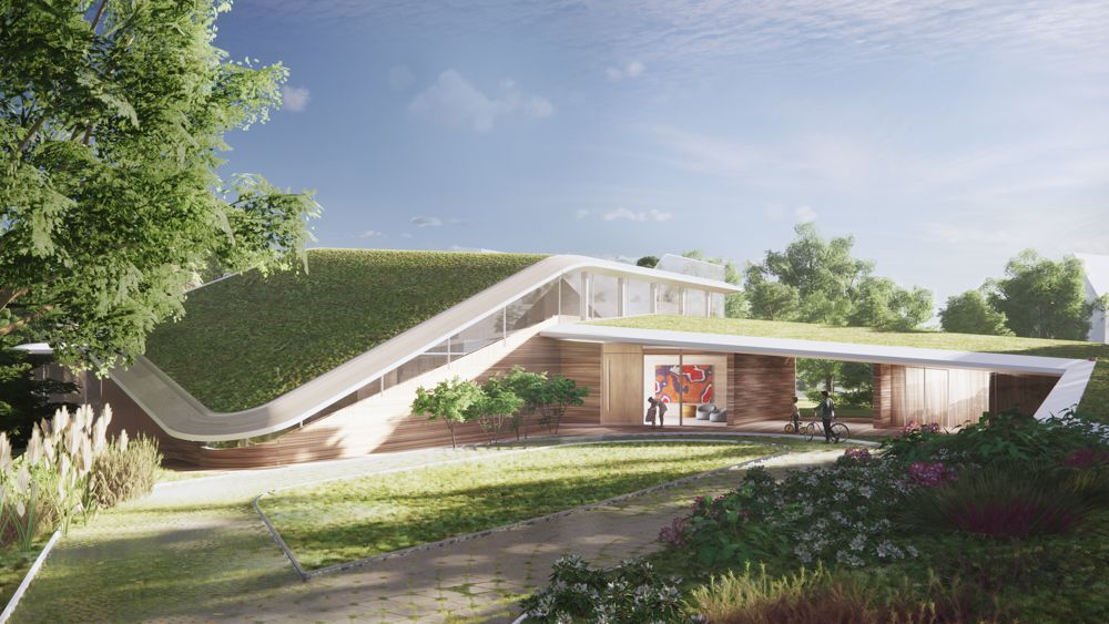 The design for Villa N embeds a spacious single-family home into the landscape of the park-like property. As a deliberately two-story volume, it blends harmoniously with the landscape tapestry of the surrounding park property: it is part house, part habitable landscape, thus reducing the visual impact of the large space program to the mature surroundings.