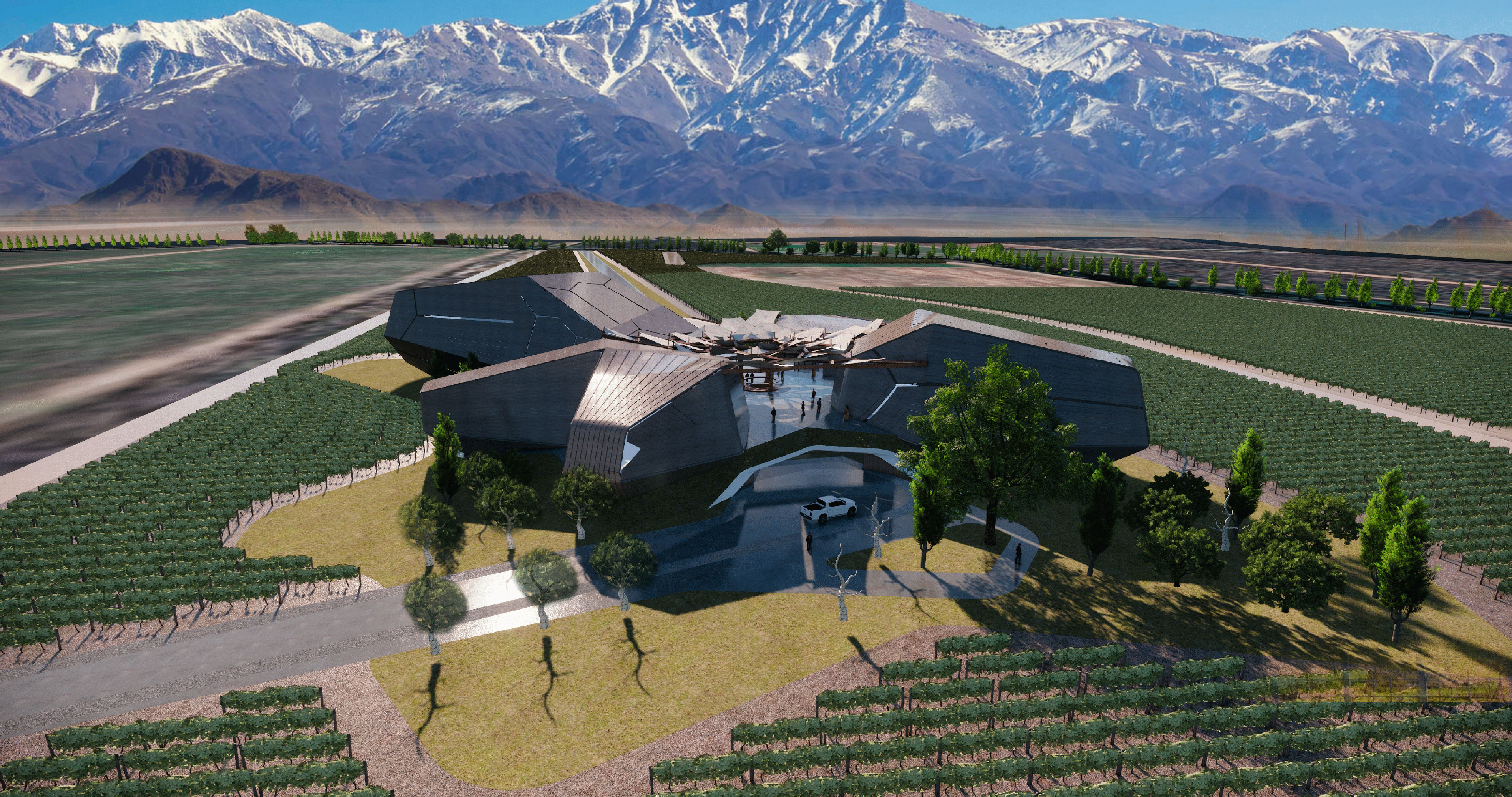 Taking inspiration from nature, the winery is shaped by the local surroundings—the rock formations of the High Andes, the sun's movement through the year and the views of the landscape. Using these features characteristic to Mendoza, GRAFT created four giant stones that embody specific rock geometries found in the high mountains. They are arranged to frame a central plaza, in which the life of the winery is concentrated: arrival and reception, harvest, tasting, wine festivals and celebrations. Shaped by the celestial movement of the sun, the stone volumes act like a calendar by reflecting the cycles of a year—just like a bottle of wine.