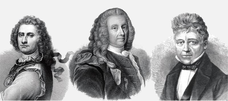 Peter Wessel Tordenskjold, Ludvig Holberg og Peter Motzfeldt.