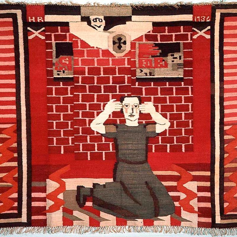 ETIKK OG ESTETIKK: Kunst har alltid vært en del av politiske bevegelser, men dagens debatt rundt ytringsfrihet og politisk kunst etterlater kunstnere i en vanskelig posisjon. Her Hannah Ryggens vev «Gru. Fra borgerkrigen i Spania» fra 1936. FOTO: NASJONALGALLERIET