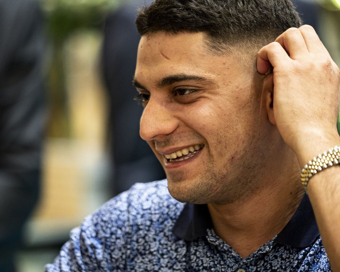 FILE - In this Nov. 17, 2019 file photo, poet Yahya Hassan at the bookfair at Bella Center in Copenhagen. The Danish poet of Palestinian descent who made headlines in 2013 as a teenager with a book that was critical of Muslims has died. Yahya Hassan was 24. (Ida Guldbaek Arentsen/Ritzau Scanpix via AP, File)