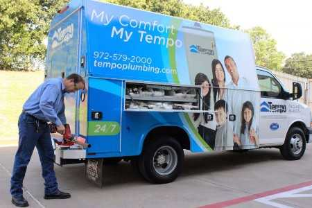 Tempo Air plumbing tech and van