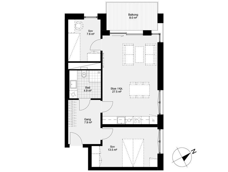 Planløsning leilighet tatt fra prospekt