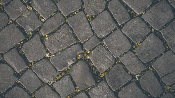 A close up picture of a sidewalk pattern