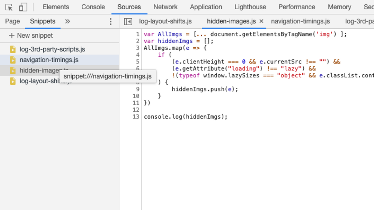 Screenshot of Snippets tab within Chrome DevTools
