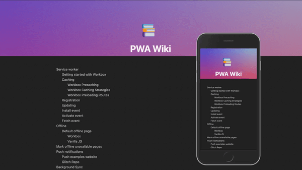 The PWA wiki website desktop and mobile screenshots