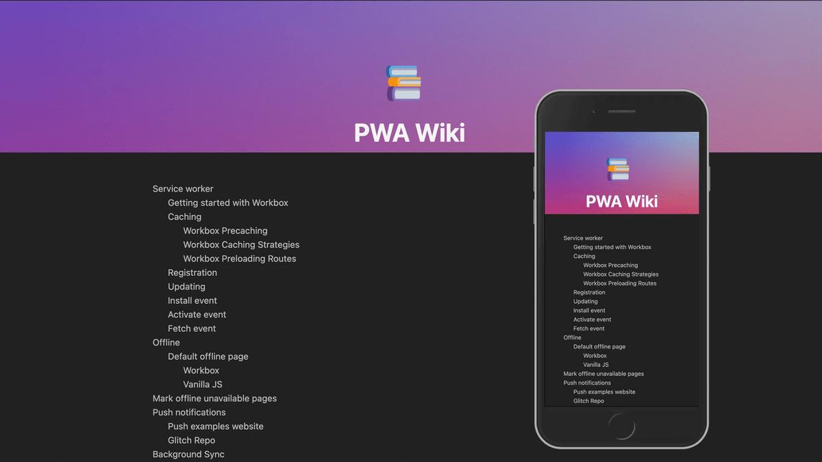 The PWA wiki website desktop and mobile screenshots