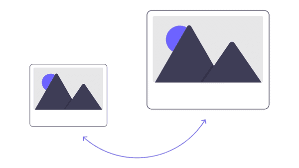Illustration of two images one bigger than the other signalling the reduction in size when optimised