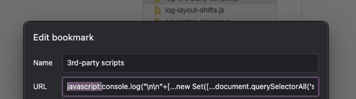Adding a bookmarklet on Chrome by giving it a name and the snippet after the javascript text
