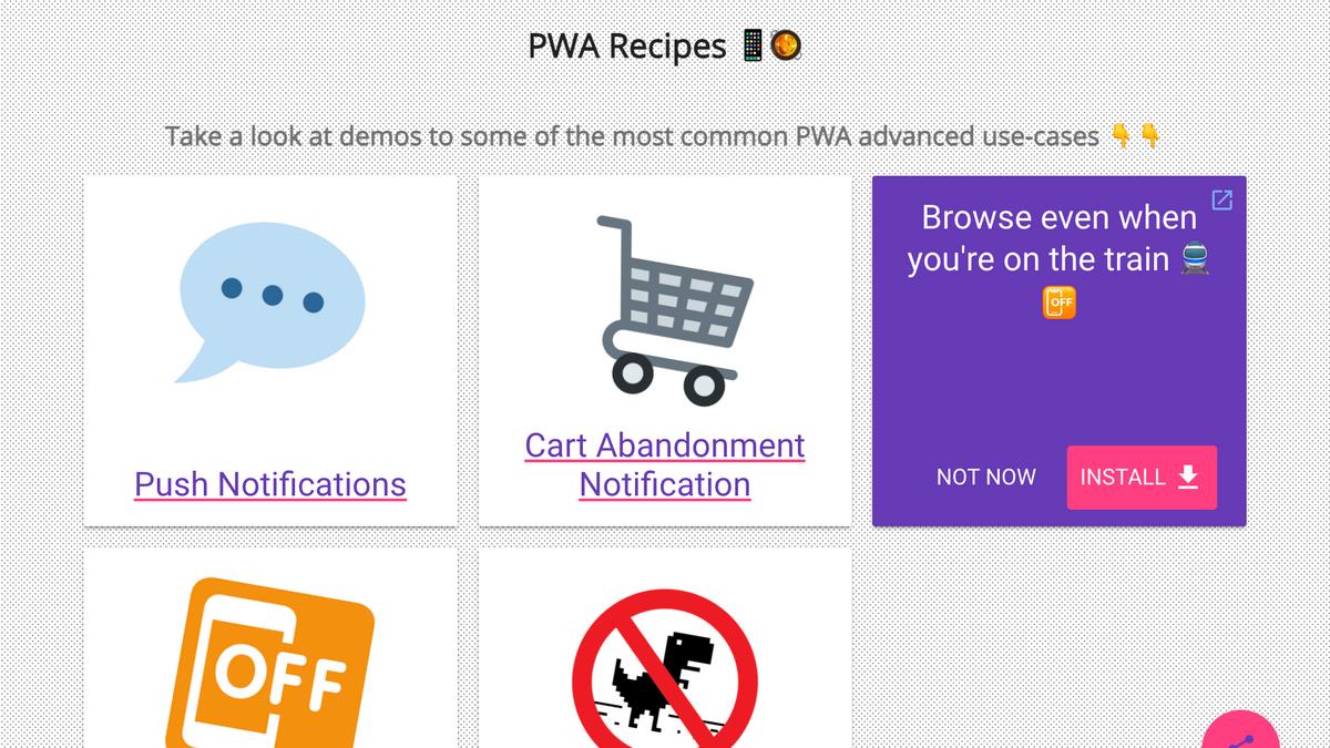 The PWA Recipes website desktop screenshot