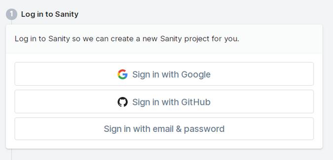 screenshot of login to sanity