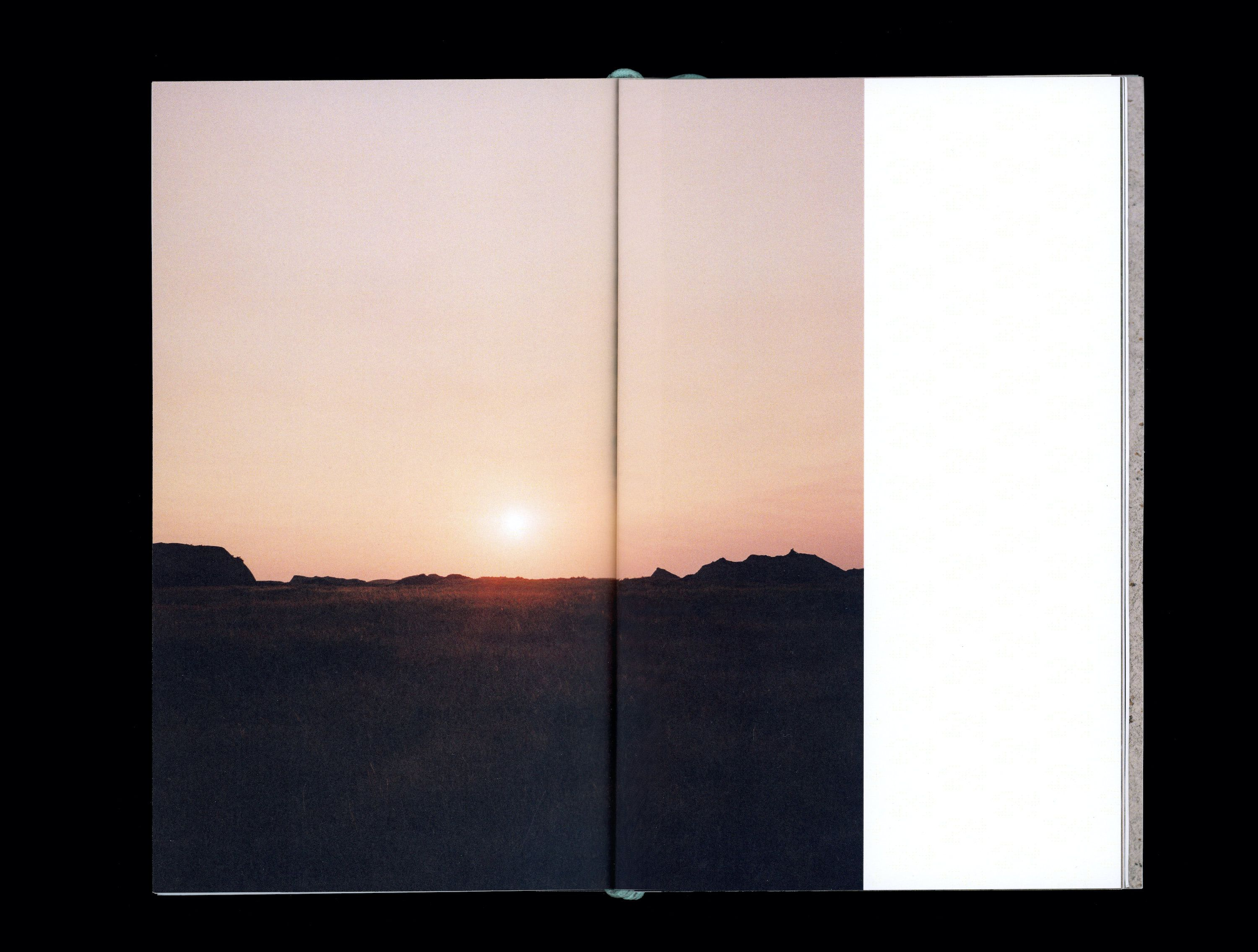 Close up photograph in book of sunset