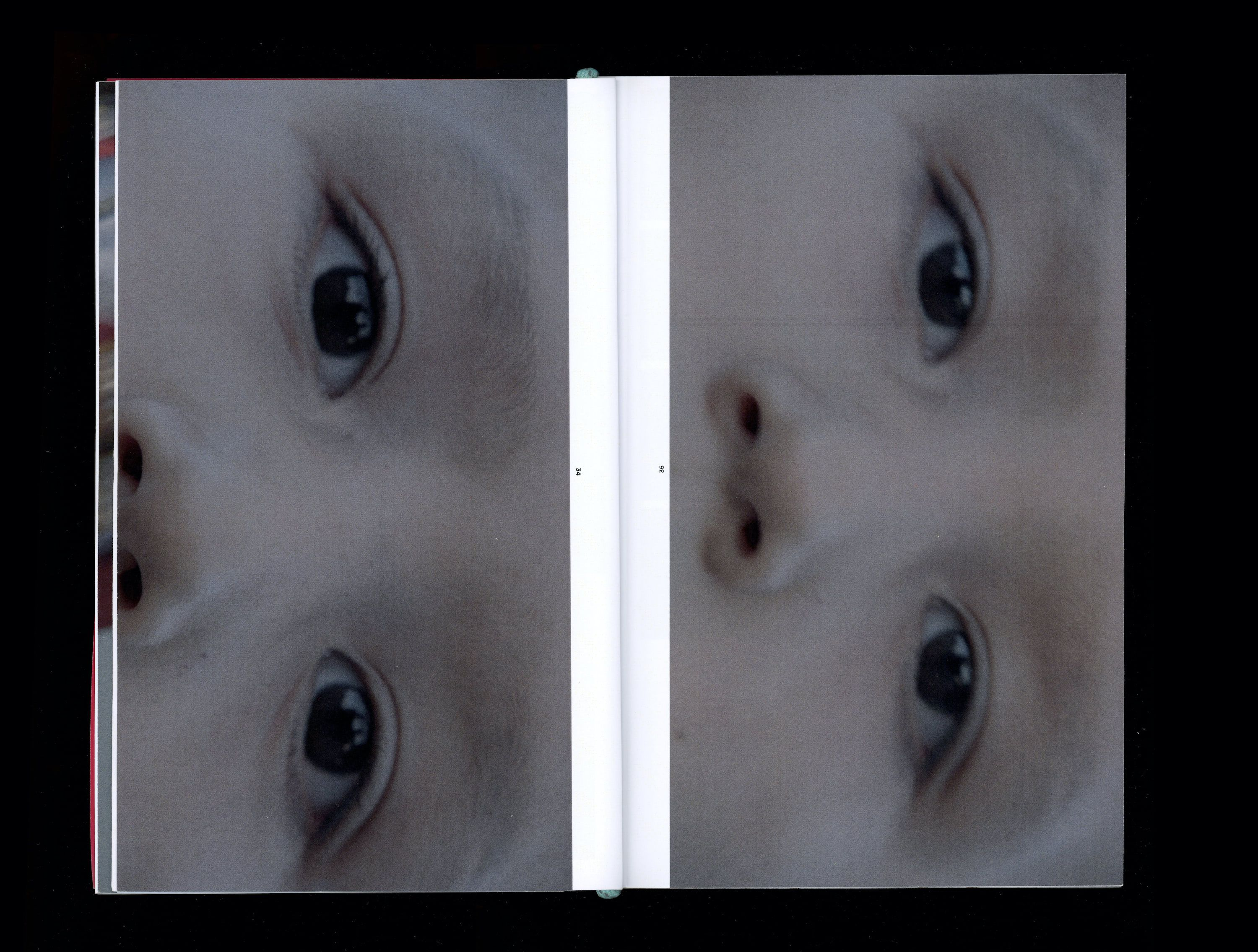 Two closeup photographs in book of Tokala Little Sky's eyes