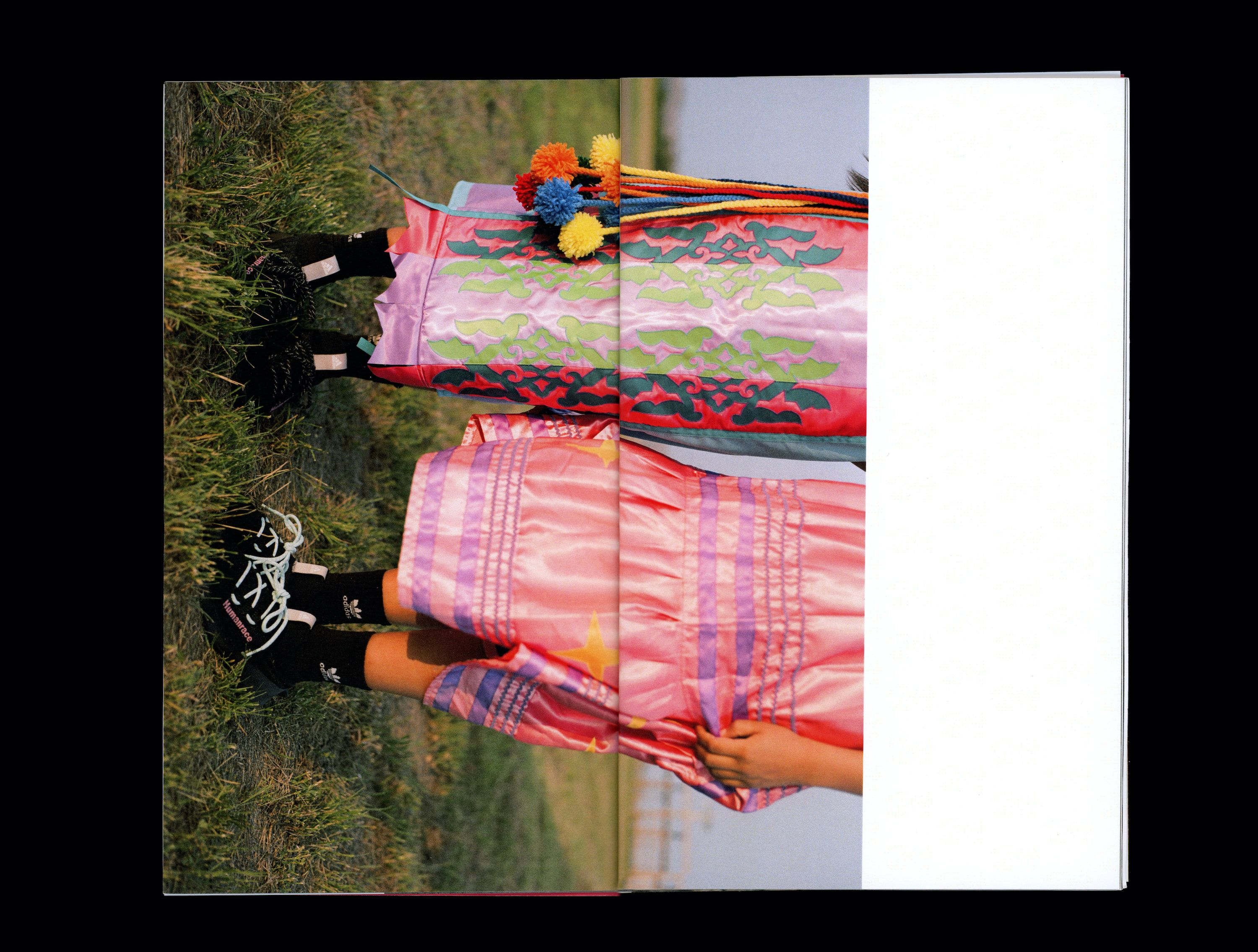 Close up photograph in book of Jonna & ToiRee Brady wearing traditional Native clothing and Sičhona shoes