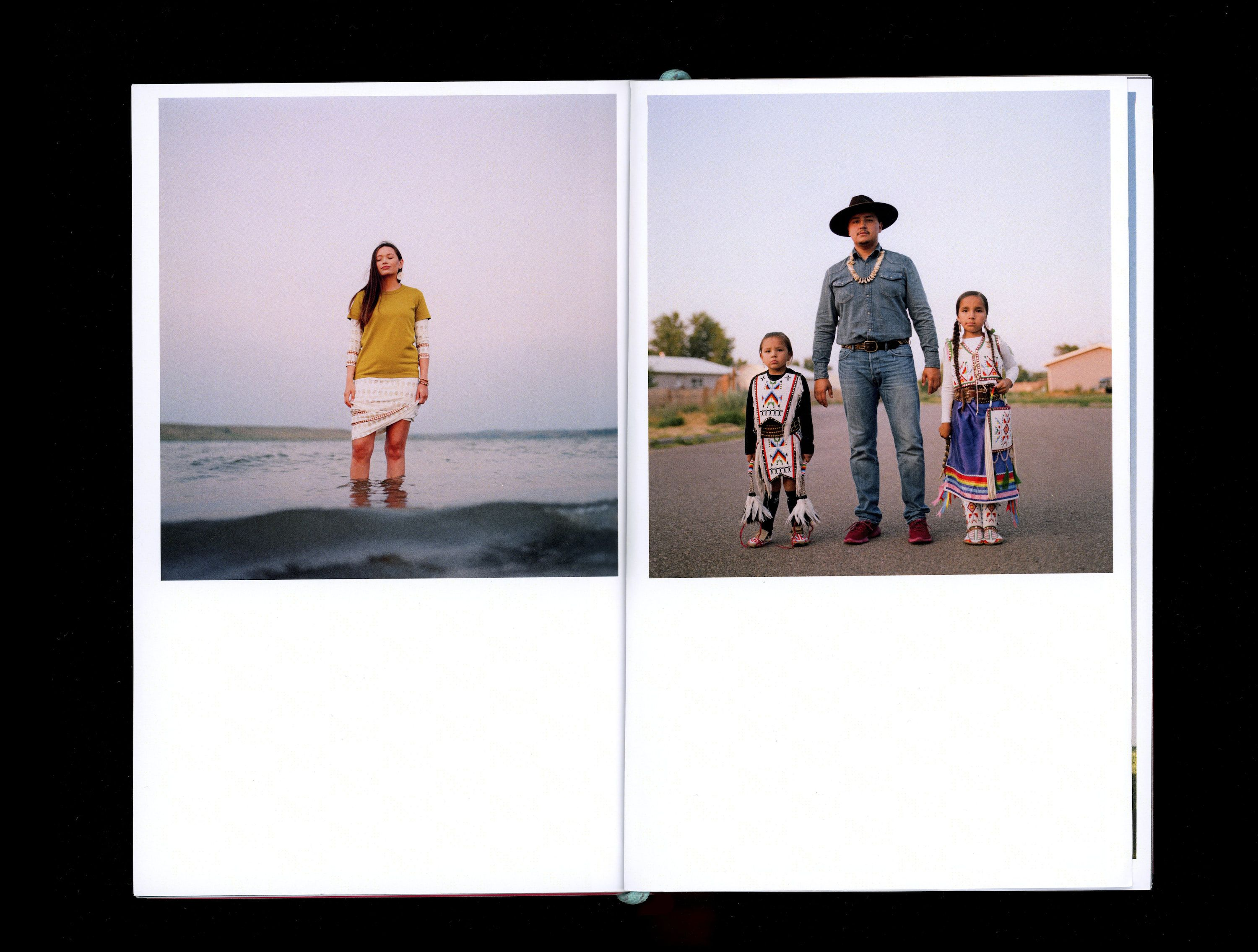 Two photographs in book showing Kylie Driver on left standing in lake and The Little Sky Family on right standing on road wearing traditional Native clothing