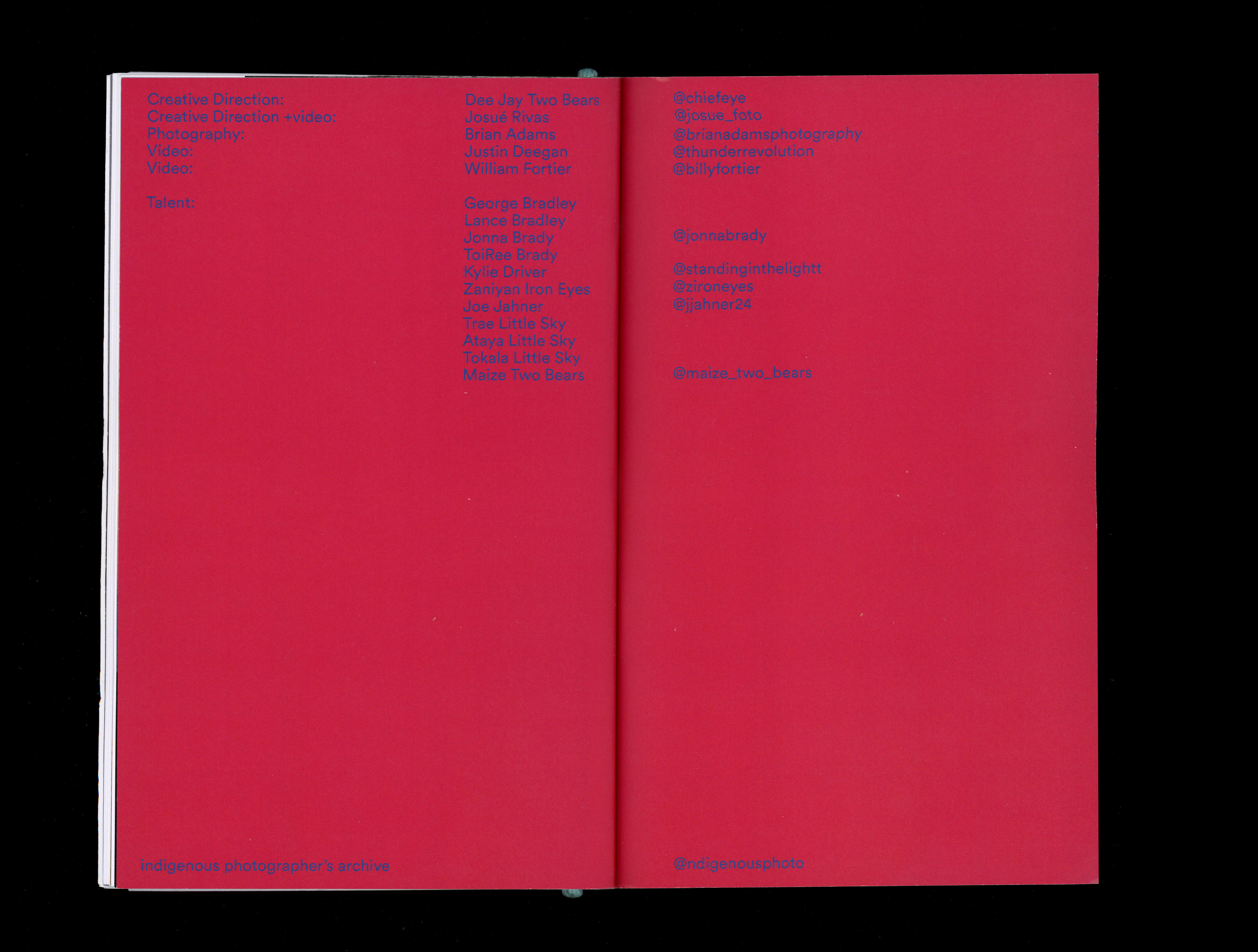 Book spread of image credits
