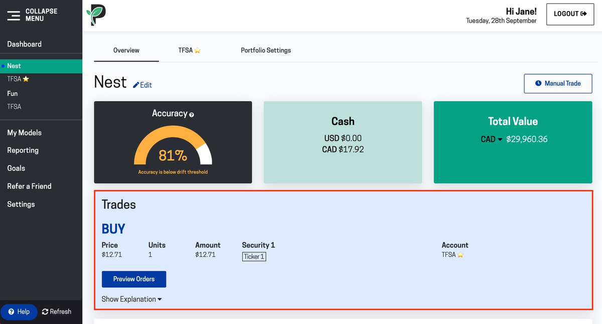 Image of using Passiv one-click trade feature